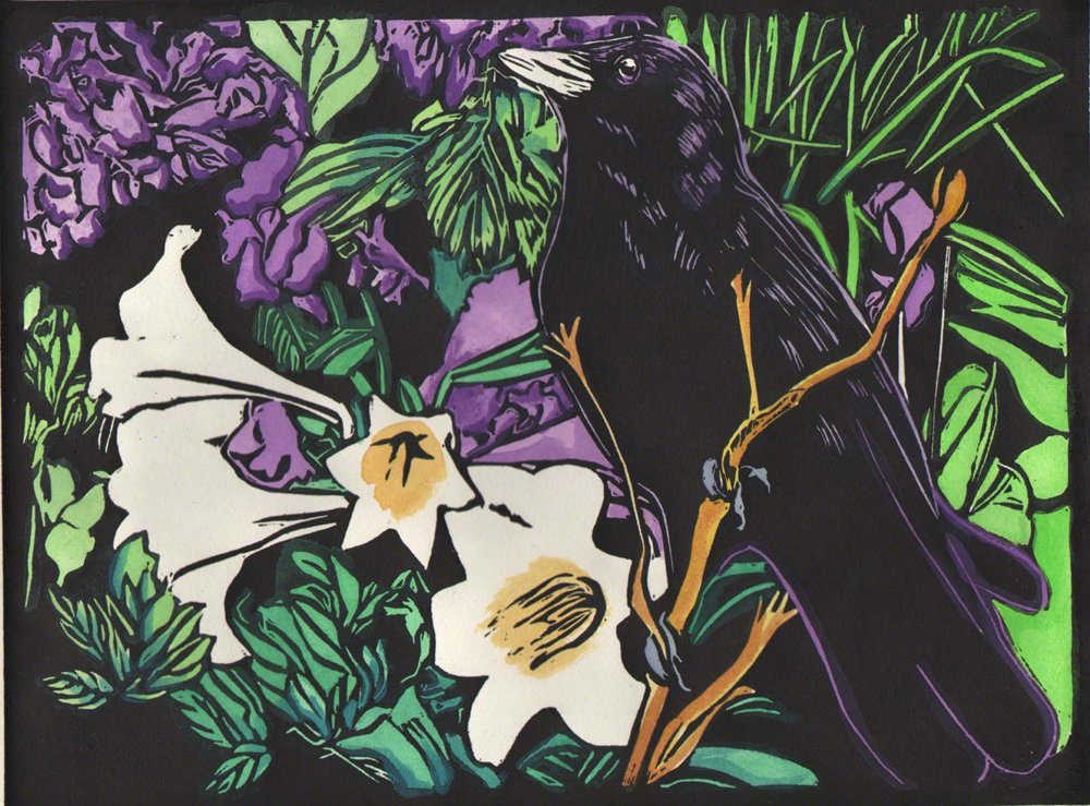 Crow and Hydrangeas