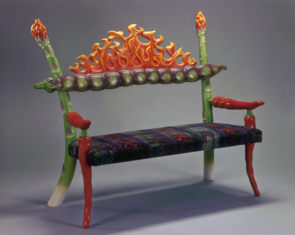 Craig Nutt, Burning, 2002, Oil Paint and Lacquer on wood, fabric by Janet Taylor.