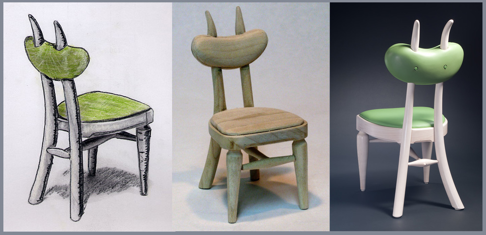 Butterbean Chair, Color Study, Maquette, Finished Chair
