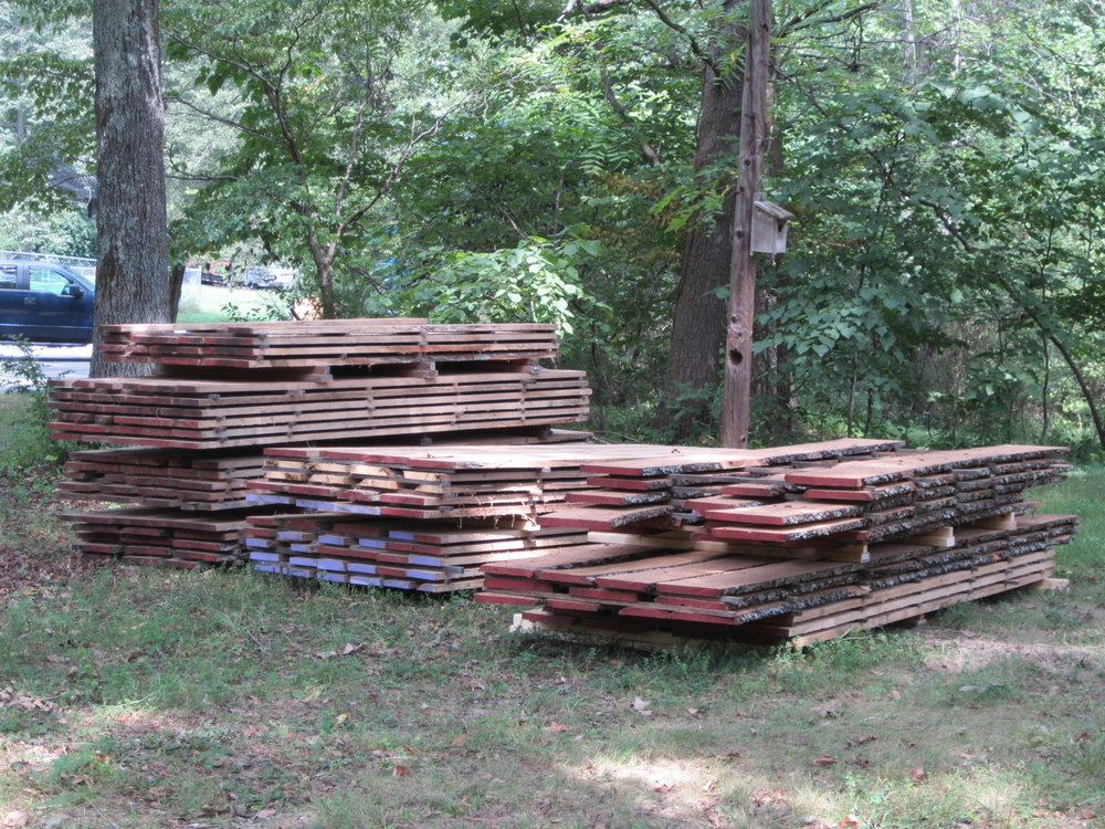 Stacks of lumber ready for air drying.