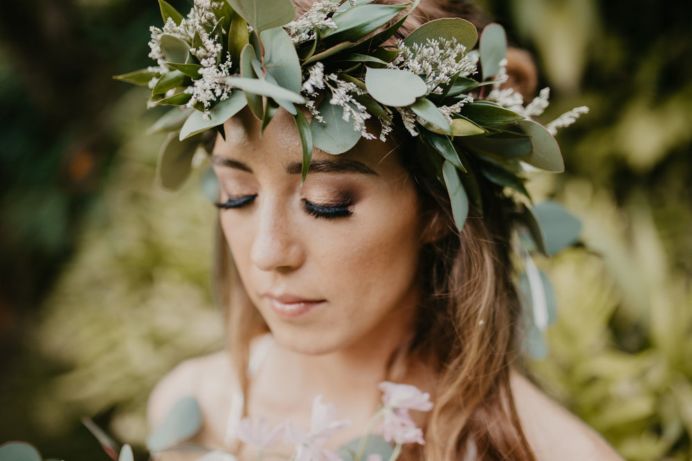 Beautiful Natural smokey eye for this Hawaiian brides wedding  Photo by- Demi Love Photography  www.demilovephotography.com