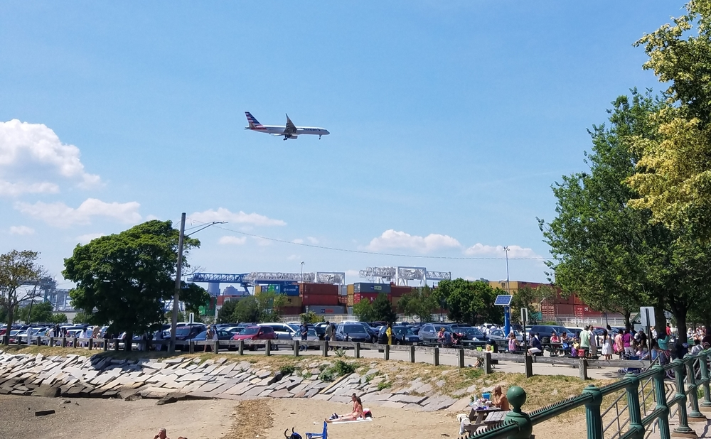plane coming in to land at Logan Airport (over Castle Island)