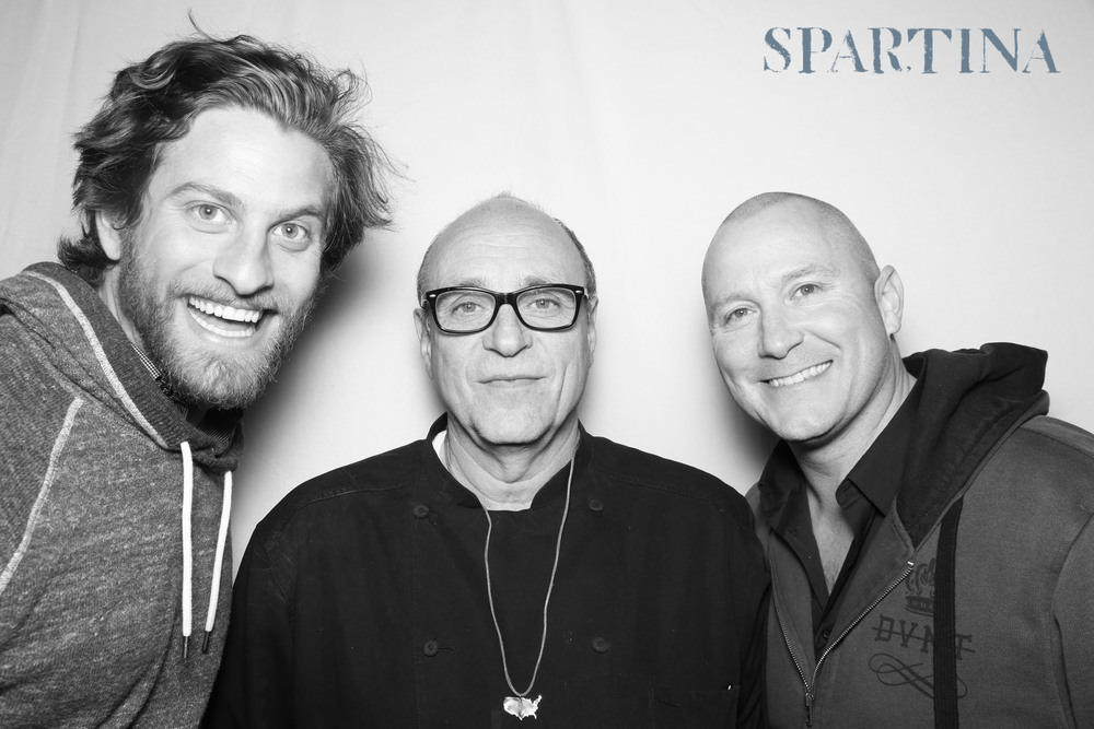 Chef Stephen Kalt and photographers Barnaby Draper and Matt Misisco at the Spartina LA Grand Opening on Melrose Avenue.