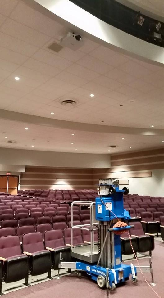 School auditorium projector installation