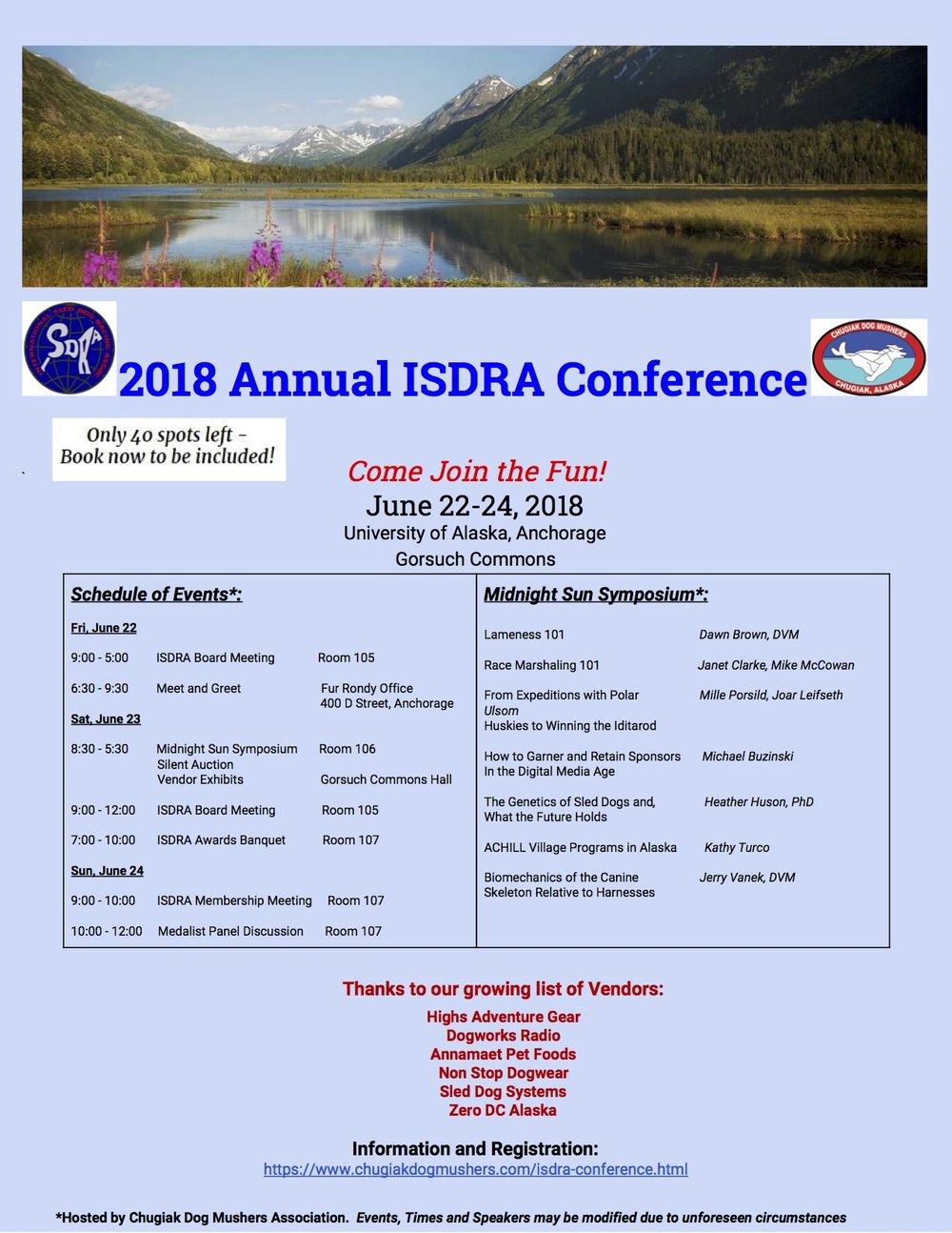 Internationa Sled Dog Racing Association Symposium, June 22-24