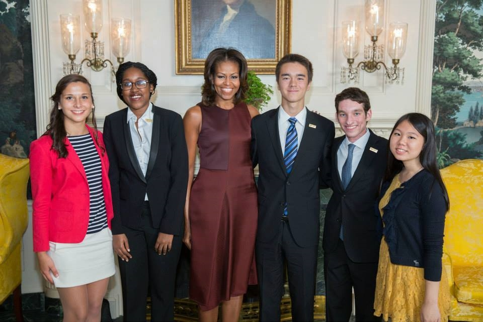 First Lady, Michelle Obama with the 2013 National Student Poets in the Diplomatic Reception Room of the White House, Sept. 20, 2013. (Official White House Photo by Lawrence Jackson)