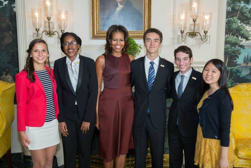 First Lady Michelle Obama with the 2013 National Student Poets (from left: Michaela Coplen; Sojourner Ahebee, Nathan Cummings, Louis Lafair, and Aline Dolinh) in the Diplomatic Reception Room of the White House, Sept. 20, 2013.   (Official White House Photo by Lawrence Jackson)