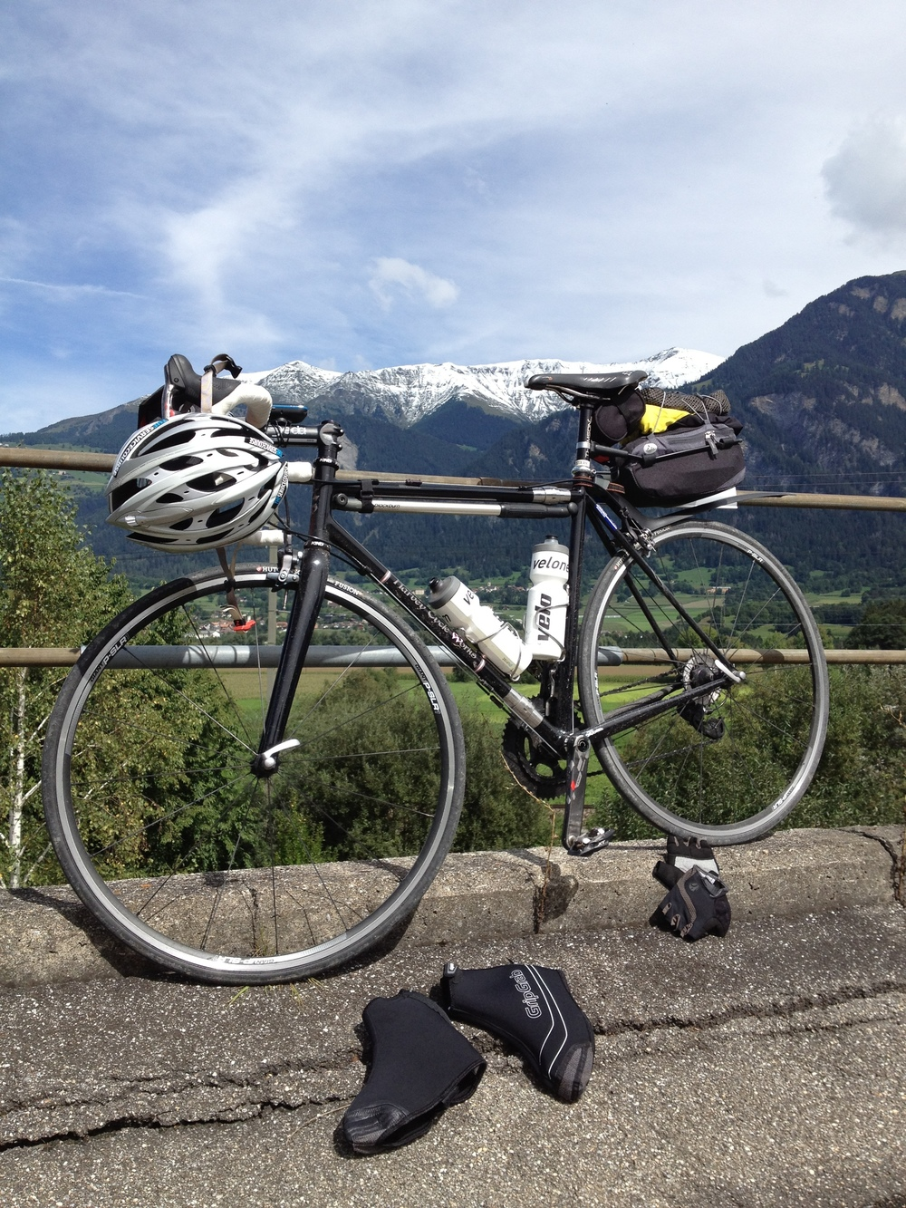 Drying out after a rainy day in Germany and Switzerland. Rode with Lennard Zinn and Morgan Nicol from Eurobike in Friedrichshafen, Germany to Lugano, Switzerland over the course of a few days.
