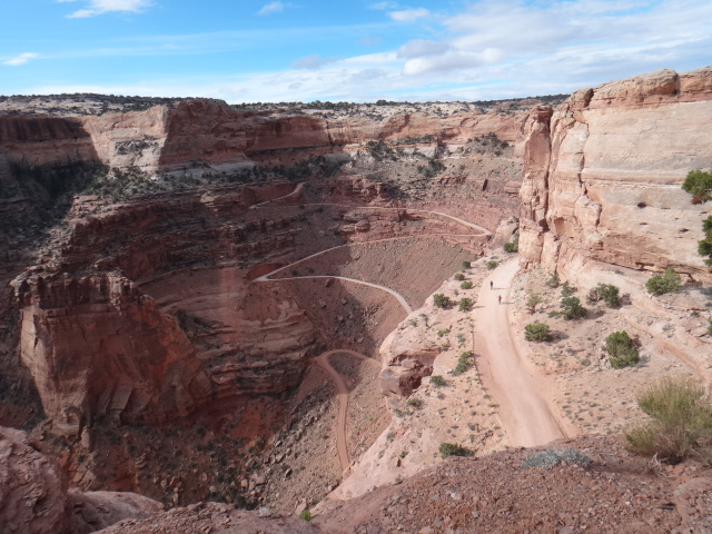 Shafer Trail, Canyonlands National Park. Those specks are bikepackers heading in for the weekend. The next day, as I rode in the opposite direction, I saw them coming up the switchbacks from the Green River boat launch.