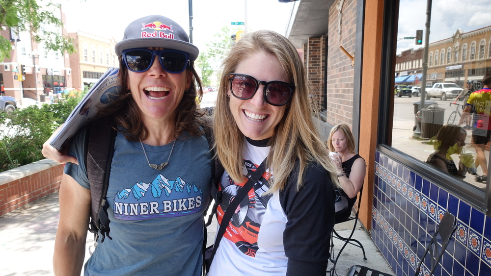 Two of the toughest ladies on bikes, Rebecca Rusch and Kristen Legan, were happy to catch up.