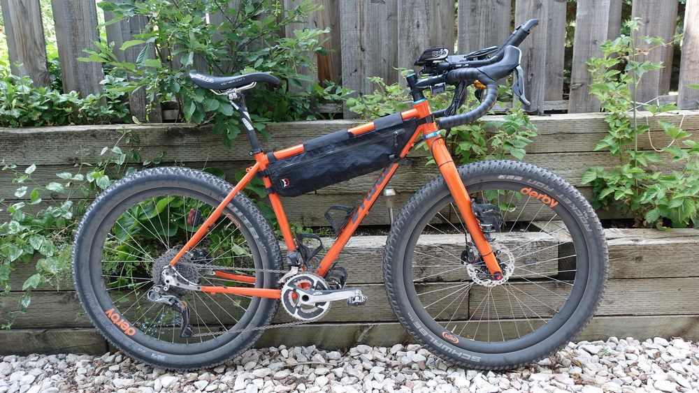More orange on offer with the addition of Ortlieb's bikepacking bags! I love this bike!