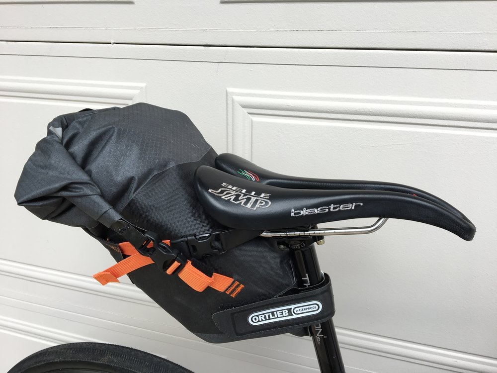 Ortlieb's smaller, medium-sized Seat Pack will keep spare clothing and an emergency bivy away from the elements. My perch is a Selle SMP Blaster mounted to a Thomson Elite seatpost.