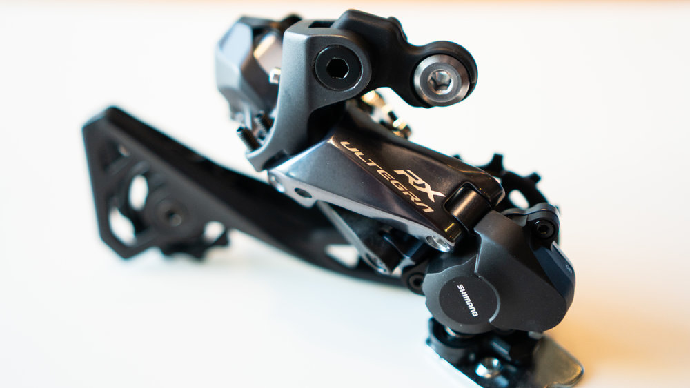 Shimano's new Ultegra RX805 Di2 rear derailleur has a clutch that can be turned on or off depending on terrain or ride surface. Photo courtesy Shimano