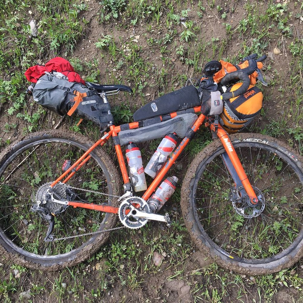 A muddy bike from so much rain!