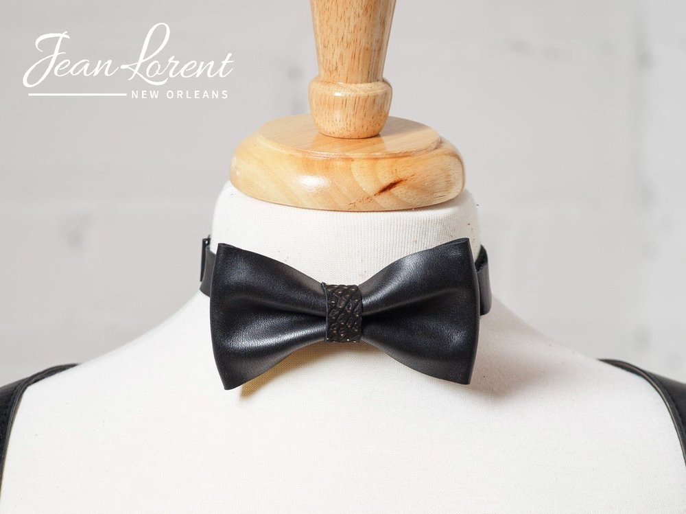 Black with Gold Dotted Bow Tie