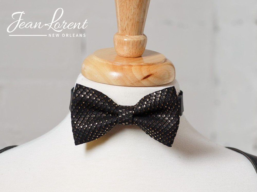Gold Dotted Bow Tie