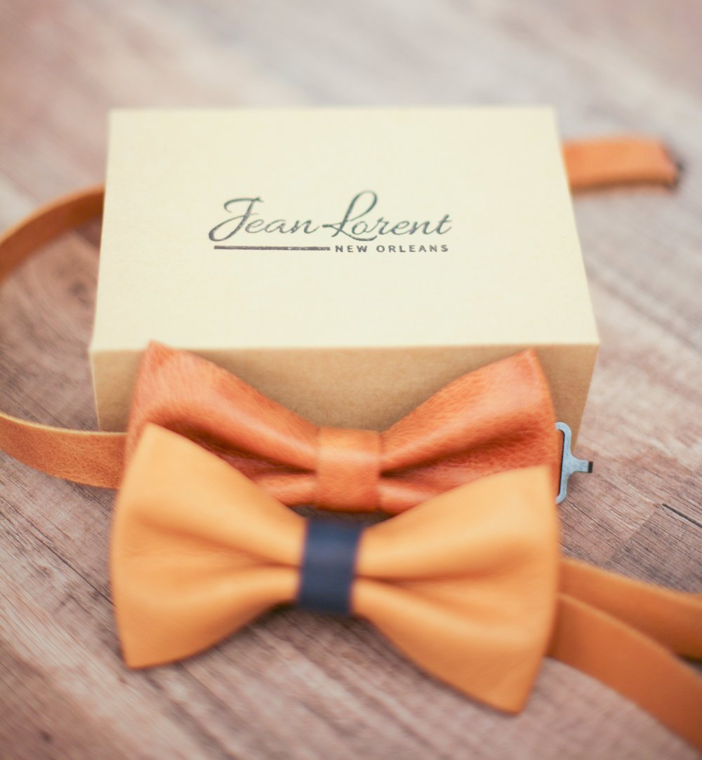 Brown and Camel - Navy Bow Ties