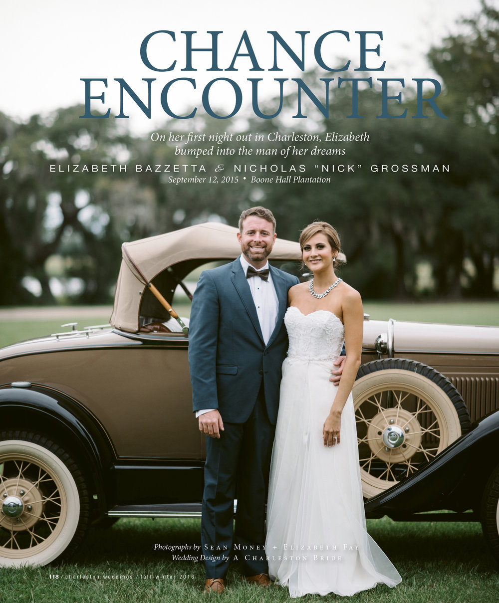 Charleston Weddings Magazine (Fall 2016 - Winter 2017 Edition)    Click on this article from Charleston Weddings Magazine to read about Elizabeth and Nick's love story (More pictures inside). For their wedding Elizabeth and Nick decided on a rustic look at  Boone Hall Plantation. Nick couldn't help but style himself with Jean Lorent signature line.
