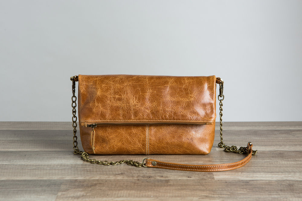 Brown Fold Over Crossbody