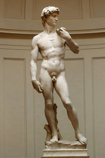 Michelangelo's David at the Galleria dell'Accademia in Florence.