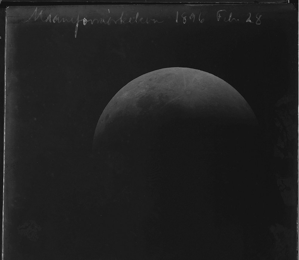 A lunar eclipse seen from Denmark in 1896. Ola J. Joensen; Niles Bohr Institute at the University of Copenhagen.