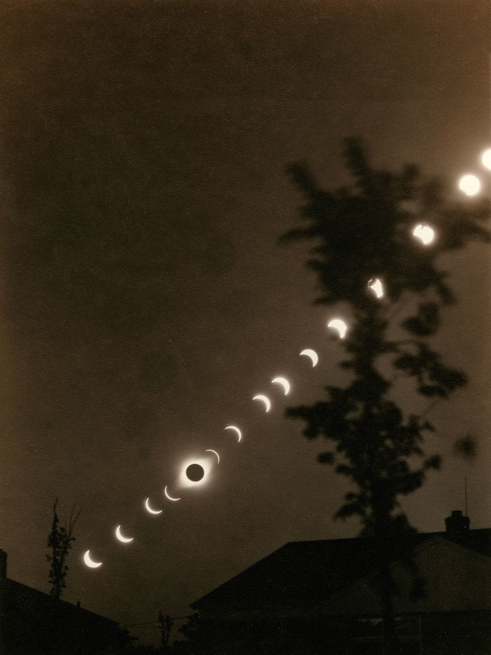 A time-lapse composite of a solar eclipse on January 24, 1925. (adoc-photos/Corbis via Getty Images.)