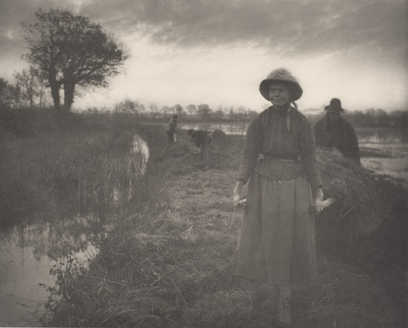 Peter Henry Emerson.  Poling the Marsh Hay , c. 1886. Platinum print. Collection of Michael Mattis and Judy Hochberg