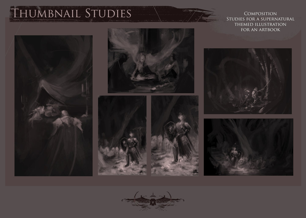 Thumbnails for a Supernatural Themed Artbook
