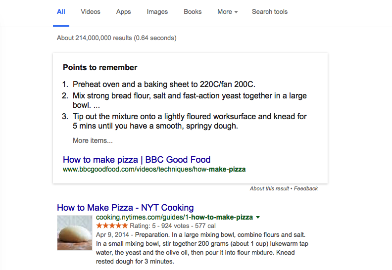 Google Snippet box example