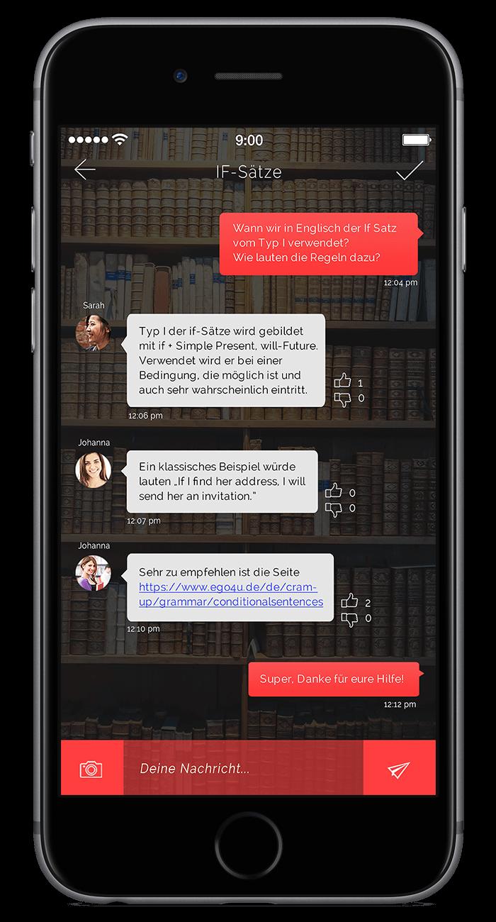 Ein Tutor wird dich so schnell wie möglich im Chat kontaktieren und dein Frage klären.