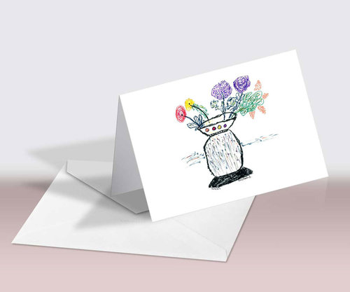 flower greeting cards colorful flowers and vase - Buy Greeting Cards Online