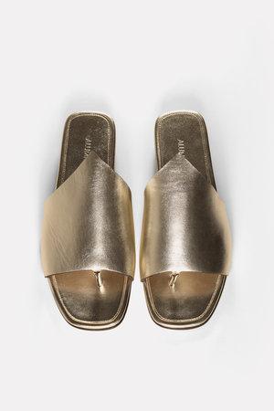 77ccf2902f5 Alumnae metallic flat thong slide sandals ...