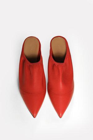 725f0672908 red leather point toe soft kitten heel mule ...