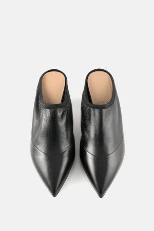 273a4176352 Alumnae black nappa point toe soft kitten heel mules ...
