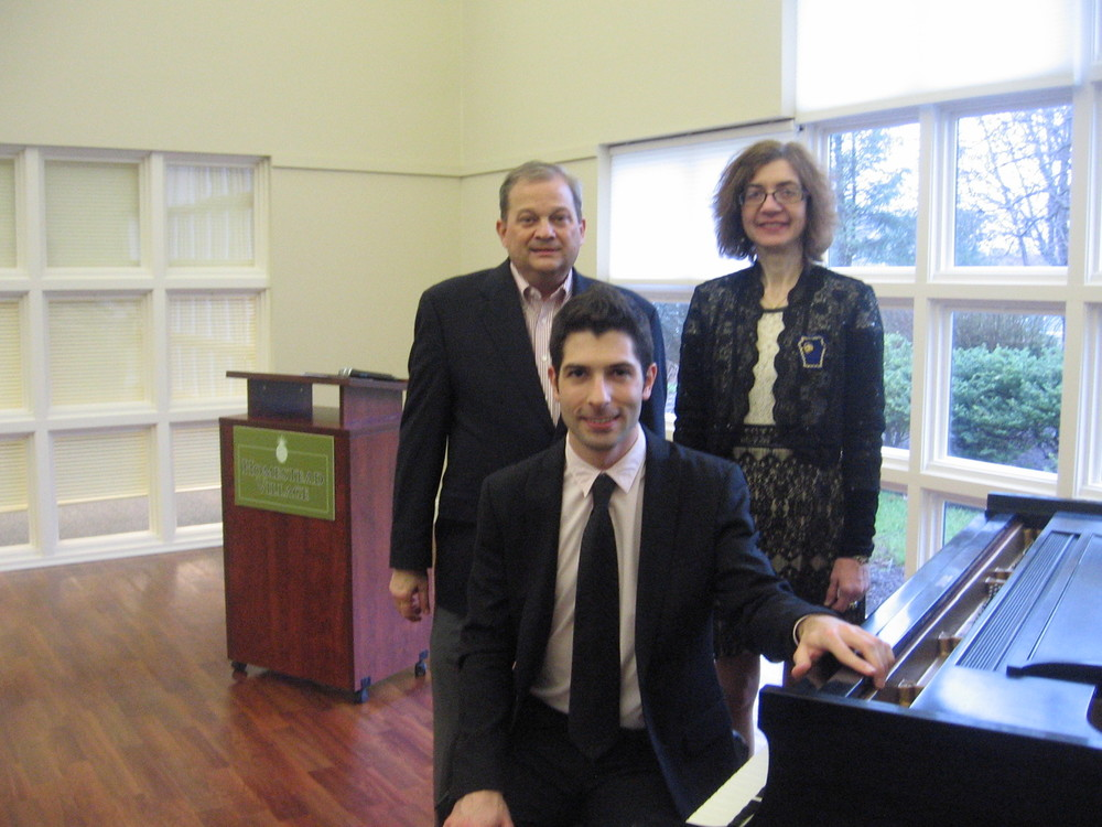 Seated with members of the  Musical Art Society  following my performance. From left to right: Jerry Smoker, Nicholas Susi, Linda Flick