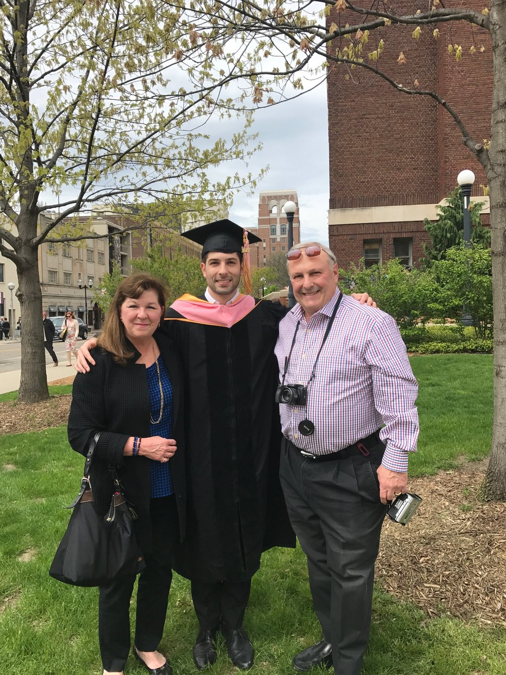With the proud parents outside Hill Auditorium. So thankful that they could come up to Ann Arbor to celebrate!