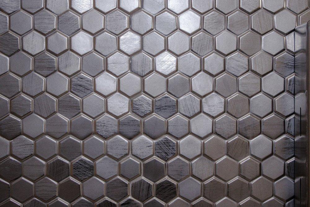 metallic geometric tile