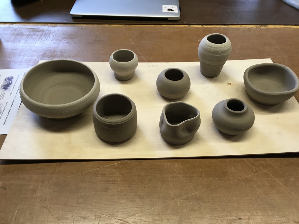 initial clay form studies (understanding size, and form)