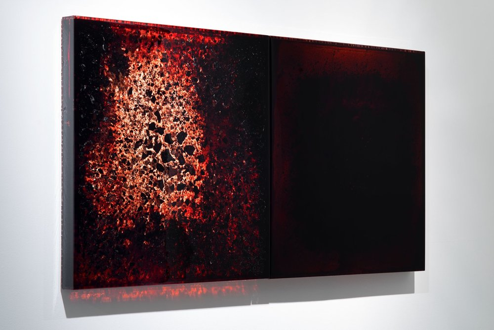 "BDBC + BD6, 2012-2014 36 x 36 x 3"" each blood, blood dust, copper, preserved on plexiglass, UV resin"
