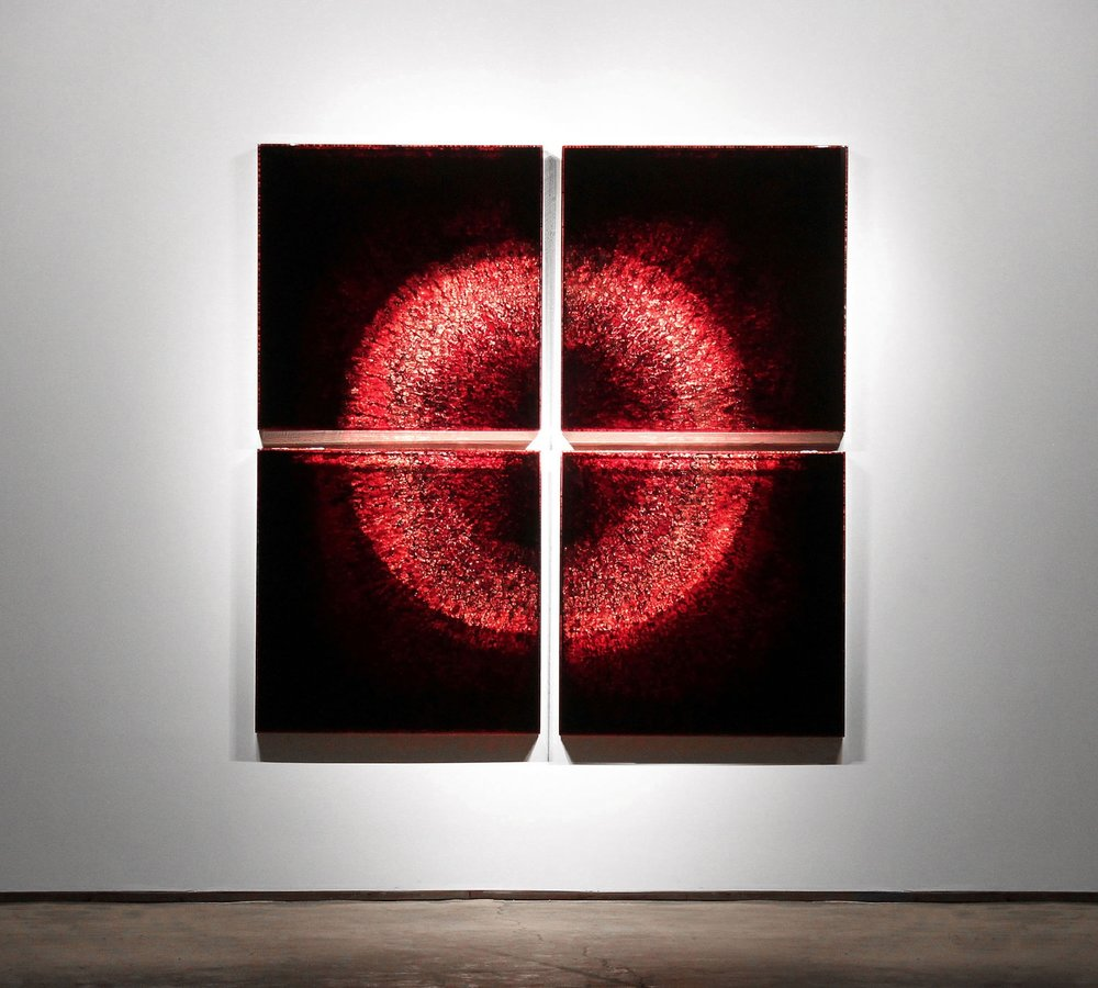 "URBCLF, 2012 103 x 103 x 3"" blood, copper, preserved on plexiglass, UV resin"