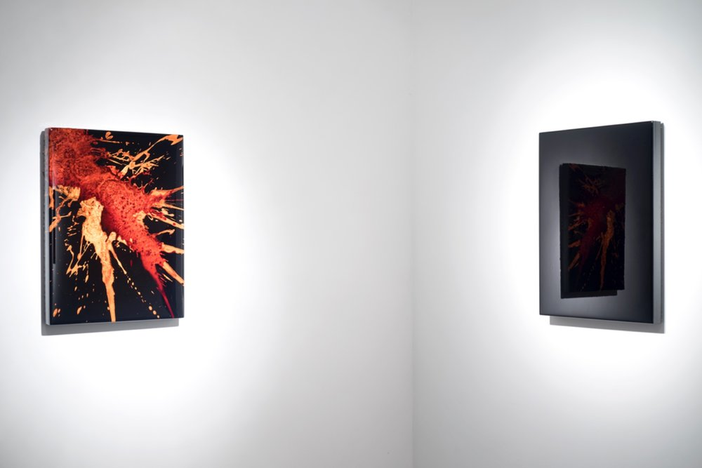 "FKTS 31, 2014 (left) 24 x 18 x 3"" blood, copper, preserved on plexiglass, UV resin FKBLK (Prototype 2), 2014 (right) 24 x 18 x 3"" blood, preserved on plexiglass, UV resin"