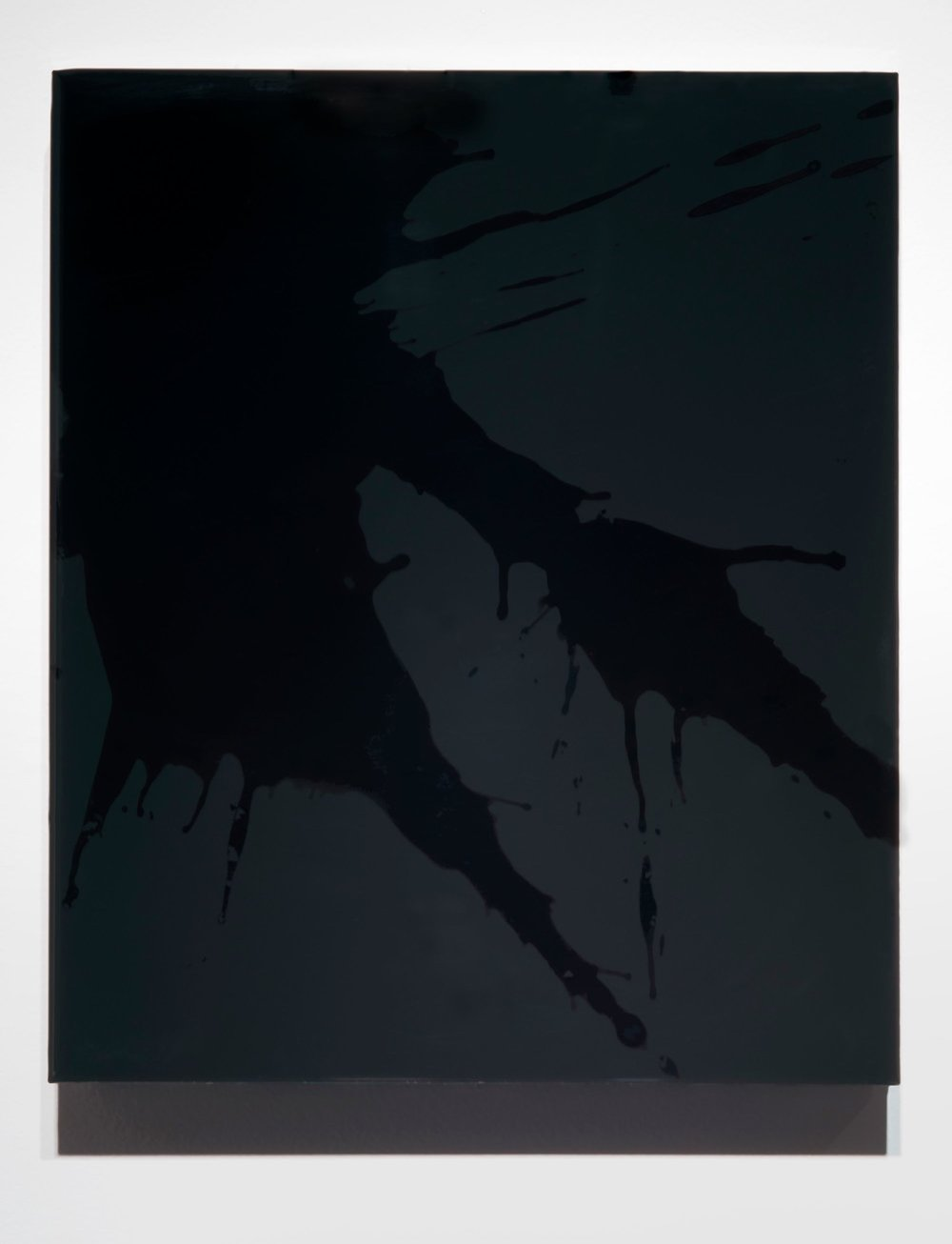 "FKBLK (Prototype 1), 2014 12 x 10 x 2"" blood, preserved on plexiglass, UV resin"