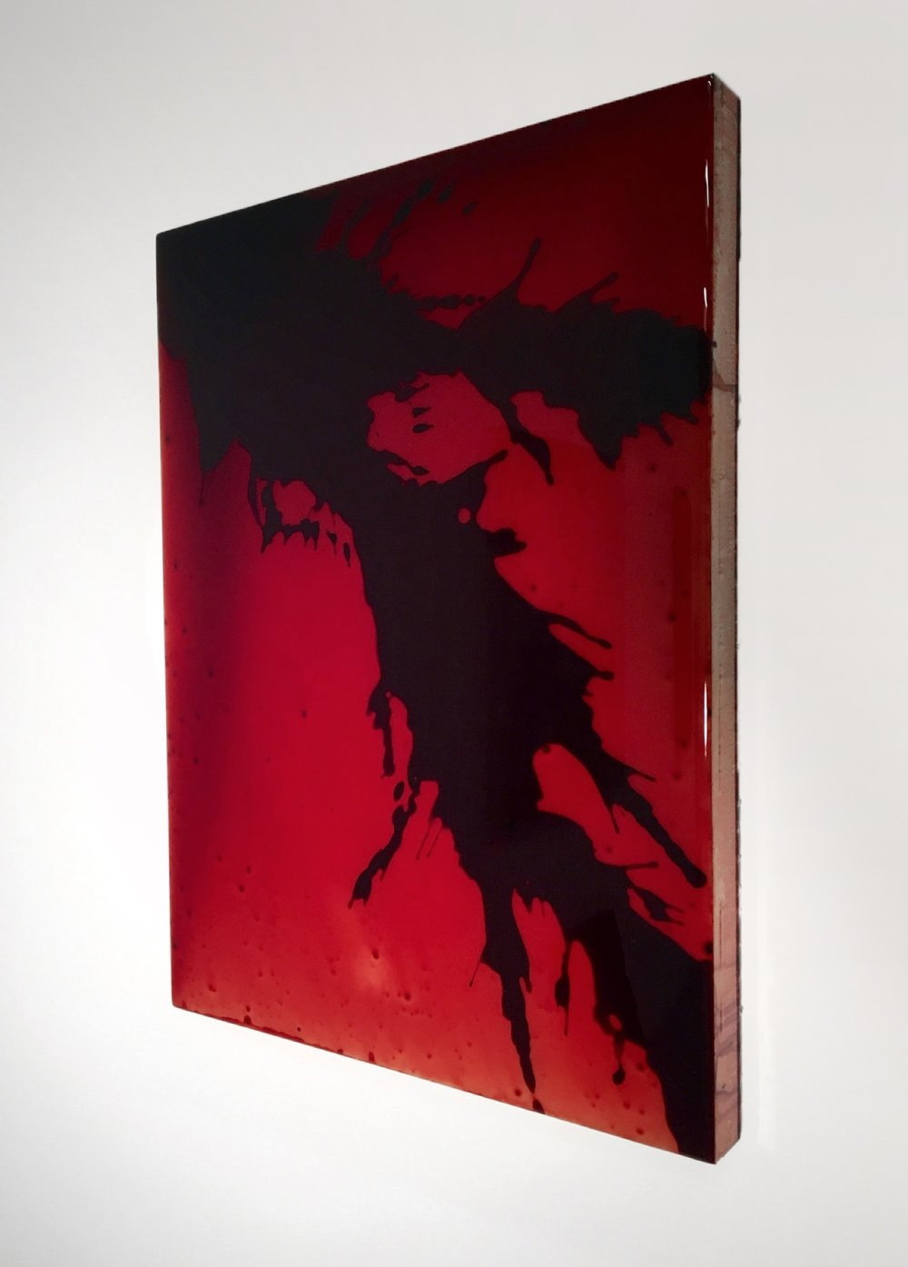 "FKRD 2, 2016 24 x 18 x 3"" blood, preserved on plexiglass, UV resin"