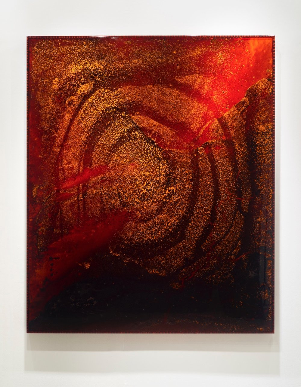 "RED GIANT 5, 2011 72 x 60 x 3"" sun-dried blood preserved on plexiglass, UV resin, copper backing"