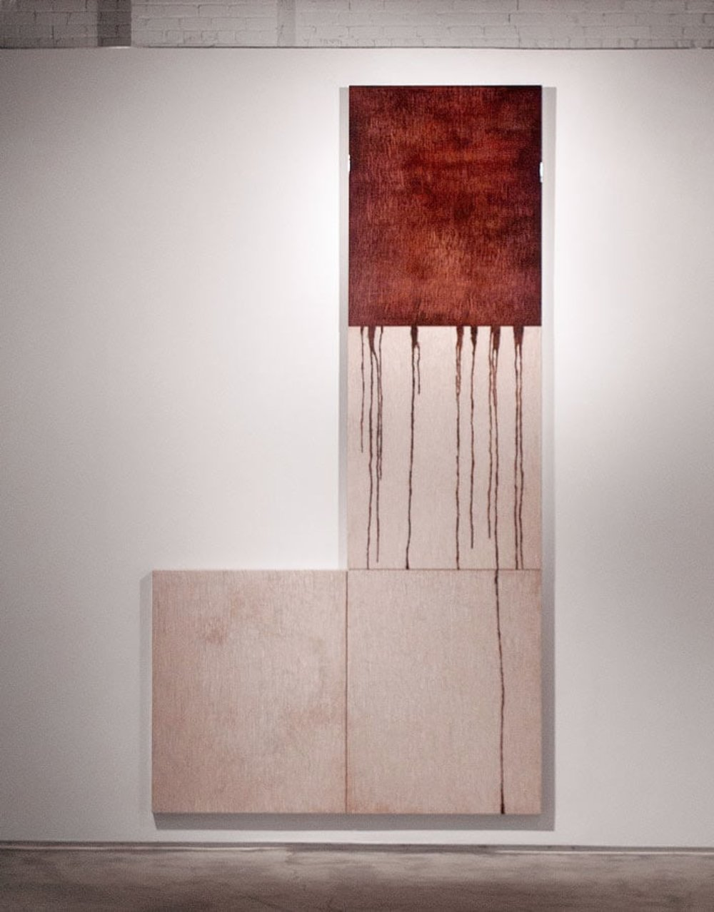 "ROZE 1-4, 2011 180 x 96 x 3"" blood, gauze, preserved on plexiglass, UV resin"