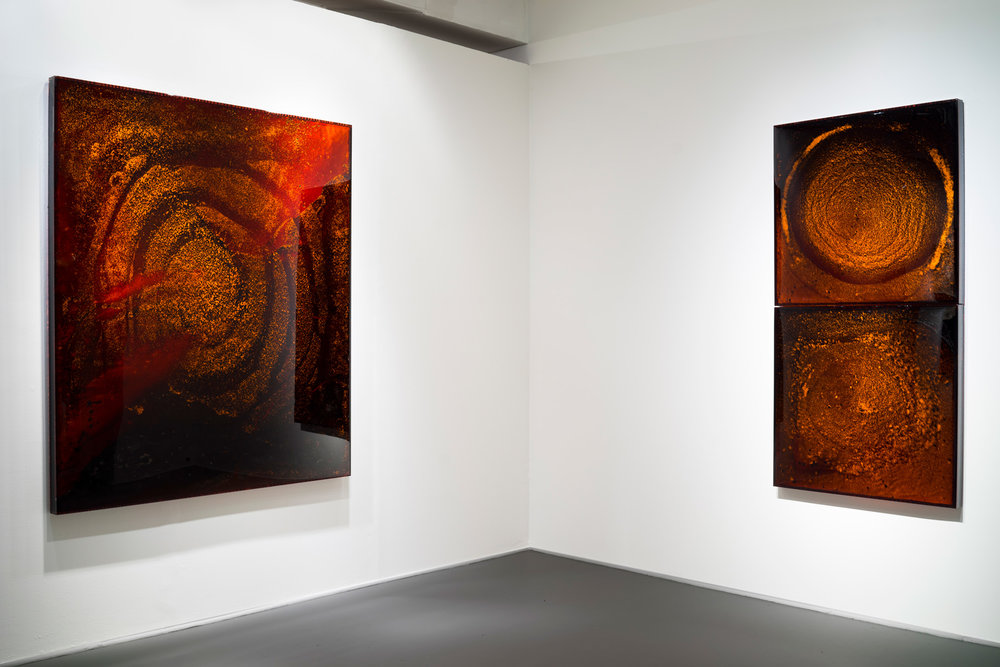 "RED GIANT 5, 2011 (left) 72 x 60 x 3"" sun-dried blood preserved on plexiglass, UV resin, copper backing RED GIANT 7-8, 2012 (right) 36 x 72 x 3"" sun-dried blood preserved on plexiglass, UV resin, copper backing"