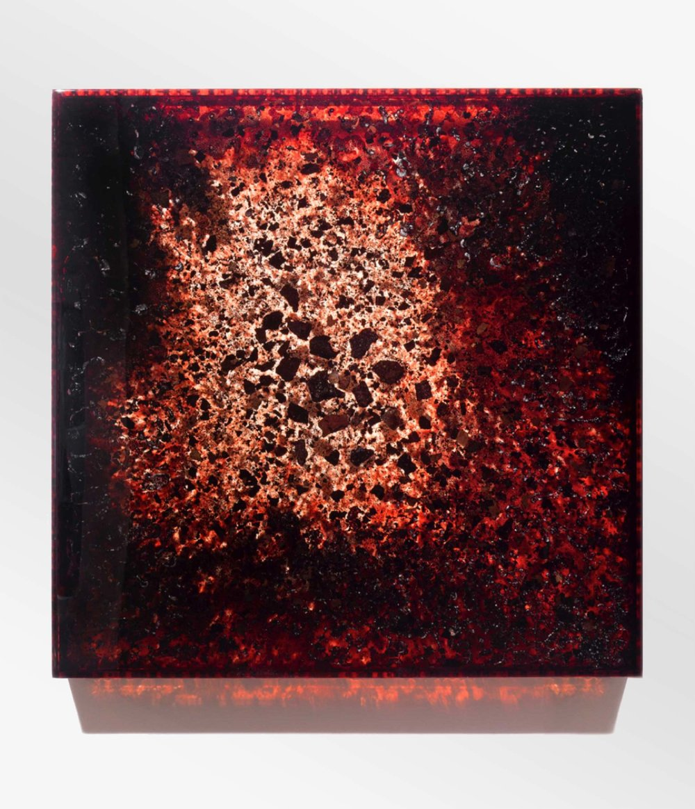 "BDBC, 2014 36 x 36 x 3"" blood, blood dust, copper, preserved on plexiglass, UV resin"