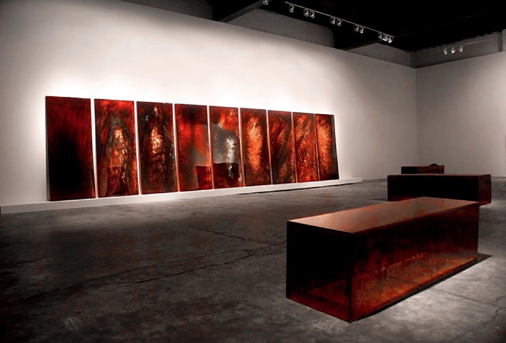 "BAR 1-9, 2009 (left) 8 x 32' blood preserved on plexiglass, UV resin CONFIGURATION (Lahmed), 2011 (right) each 24 x 24 x 84"" blood preserved on plexiglass, UV resin, pile of unpreserved blood dust"