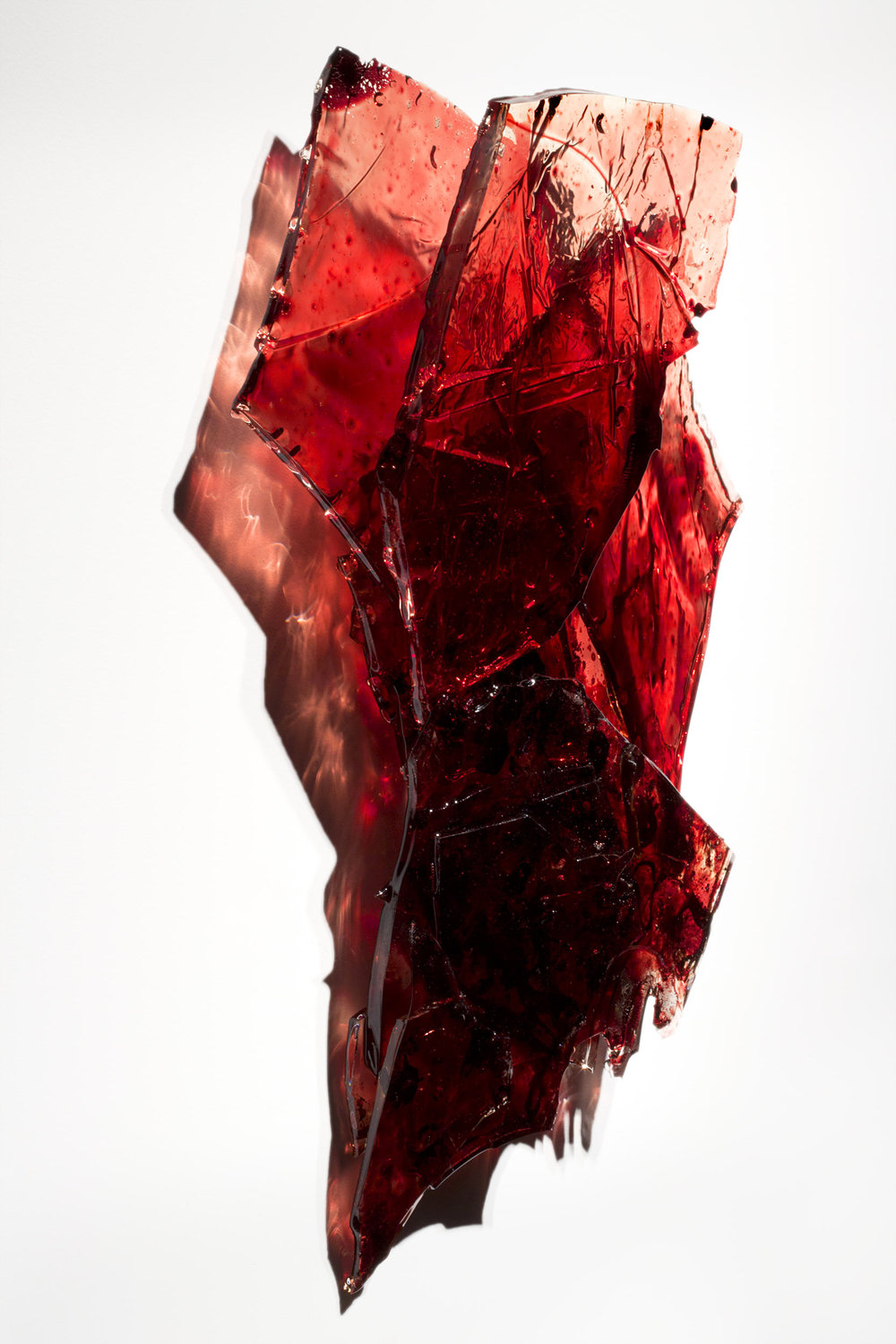 "Untitled,   2018  19 x 16 x 3""  blood, UV resin"