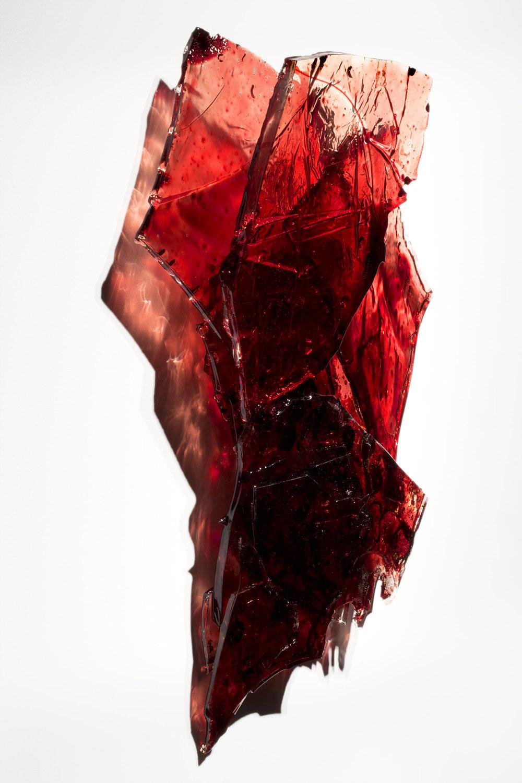 "Untitled,  2018  19 x 16 x 3""  blood,UV resin"